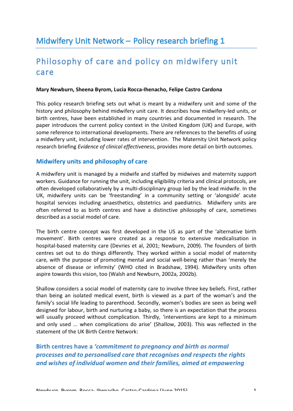 Philosophy of care and policy on midwifery unit care