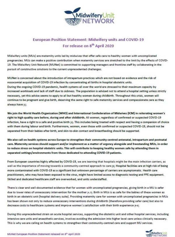 MUNet European Position Statement - Midwifery Units & CoVid-19