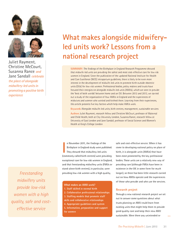 What makes alongside midwifery-led units? Lessons from a national research project